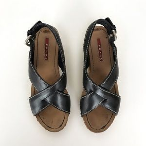 Prada leather flat-form espadrille
